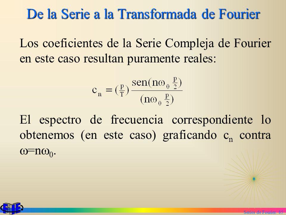 Series de Fourier. 85 De la Serie a la Transformada de Fourier Los coeficientes de la Serie Compleja de Fourier en este caso resultan puramente reales