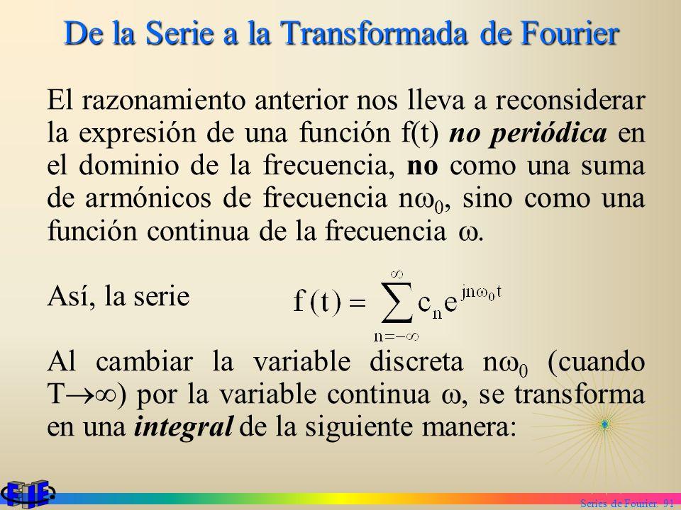 Series de Fourier. 91 De la Serie a la Transformada de Fourier El razonamiento anterior nos lleva a reconsiderar la expresión de una función f(t) no p