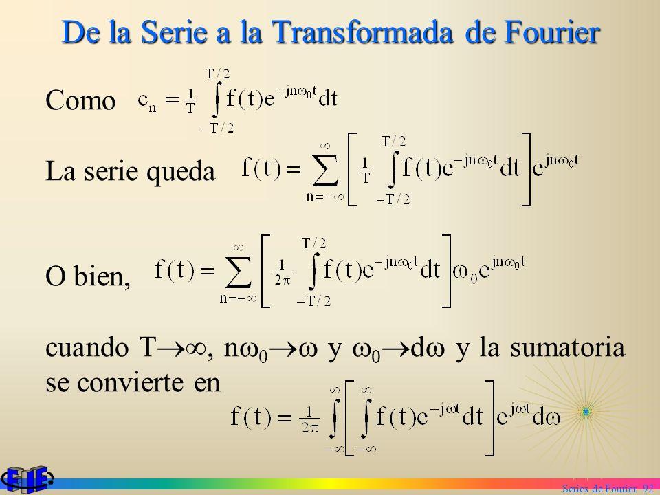 Series de Fourier. 92 De la Serie a la Transformada de Fourier Como La serie queda O bien, cuando T, n 0 y 0 d y la sumatoria se convierte en