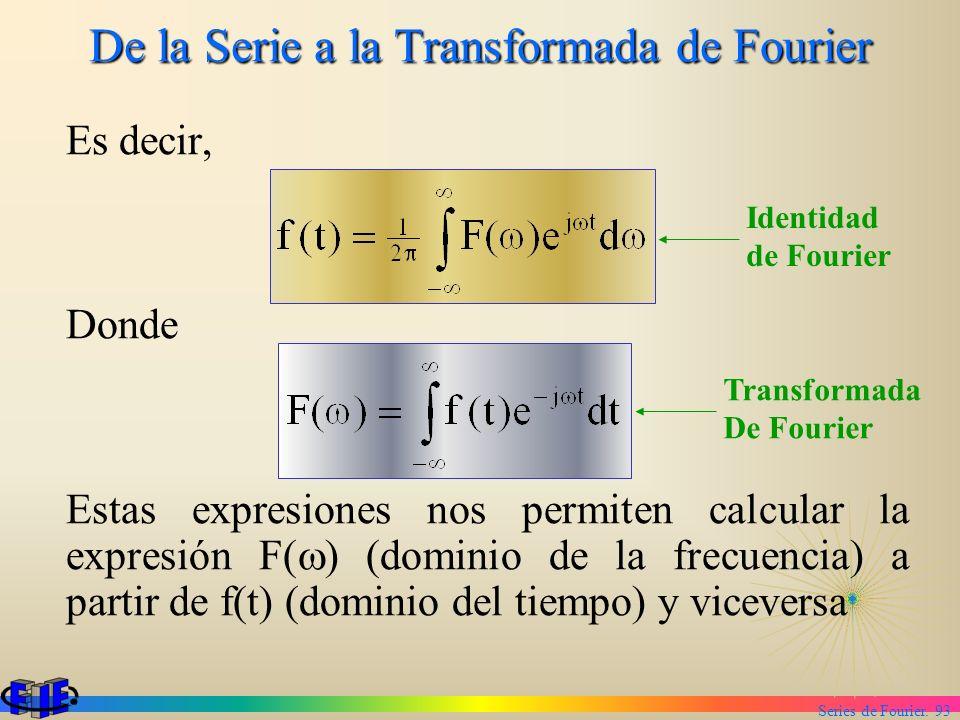 Series de Fourier. 93 De la Serie a la Transformada de Fourier Es decir, Donde Estas expresiones nos permiten calcular la expresión F( ) (dominio de l