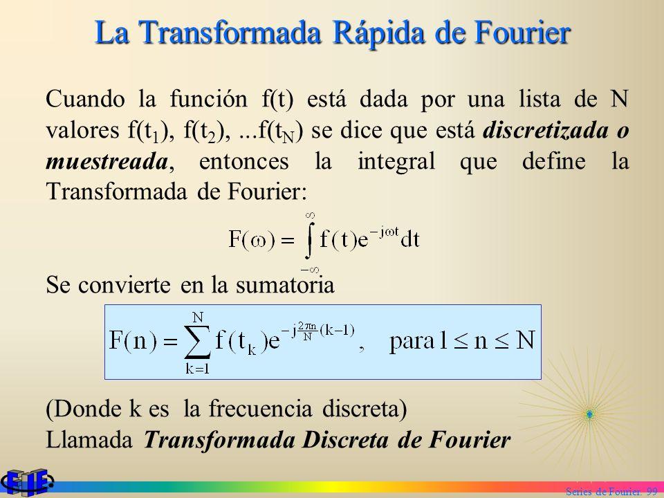 Series de Fourier. 99 La Transformada Rápida de Fourier Cuando la función f(t) está dada por una lista de N valores f(t 1 ), f(t 2 ),...f(t N ) se dic