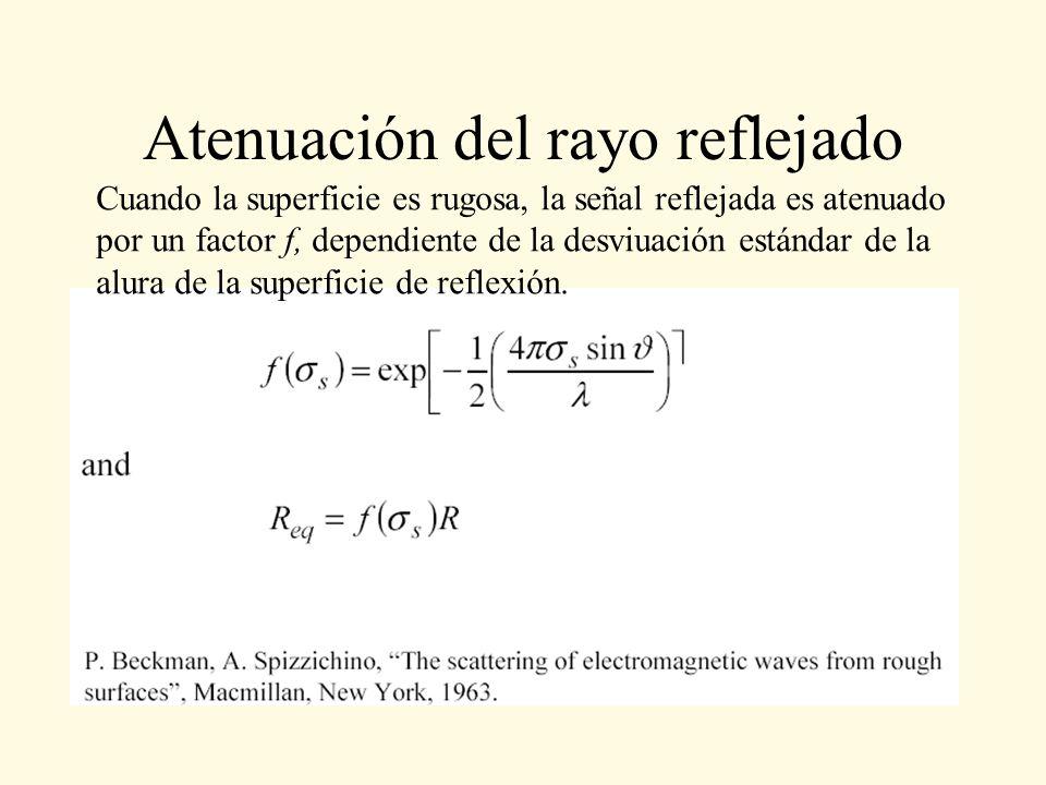Atenuación del rayo reflejado Cuando la superficie es rugosa, la señal reflejada es atenuado por un factor f, dependiente de la desviuación estándar d