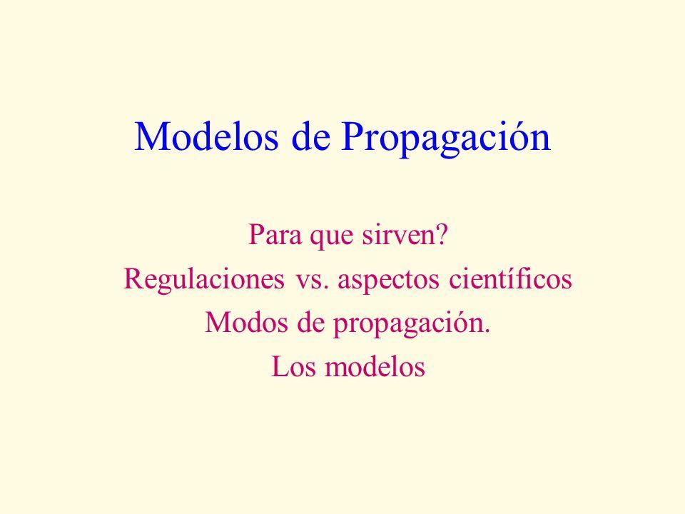 Modelos de Propagación Para que sirven? Regulaciones vs. aspectos científicos Modos de propagación. Los modelos