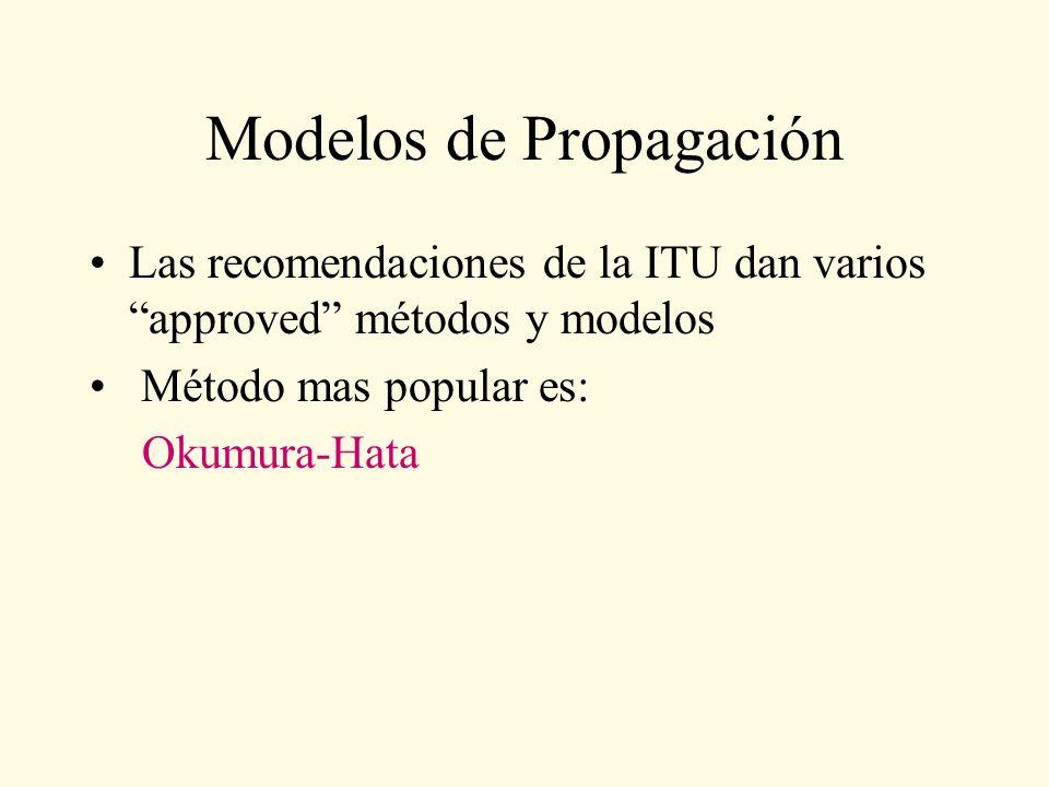 Modelos de Propagación Las recomendaciones de la ITU dan varios approved métodos y modelos Método mas popular es: Okumura-Hata
