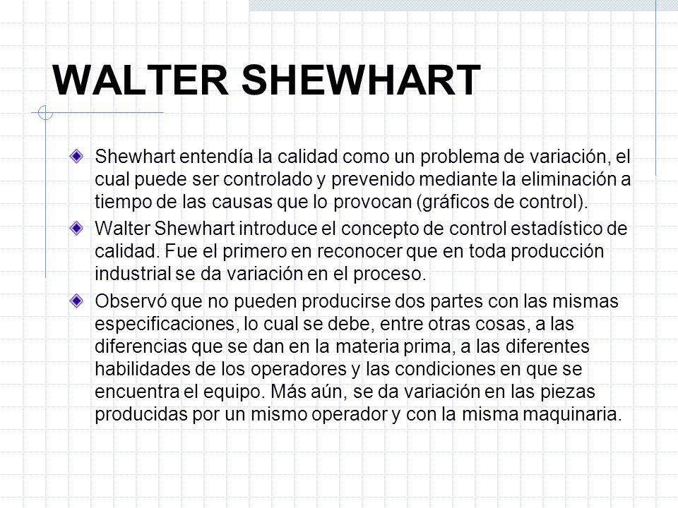 Shewhart entendía la calidad como un problema de variación, el cual puede ser controlado y prevenido mediante la eliminación a tiempo de las causas qu