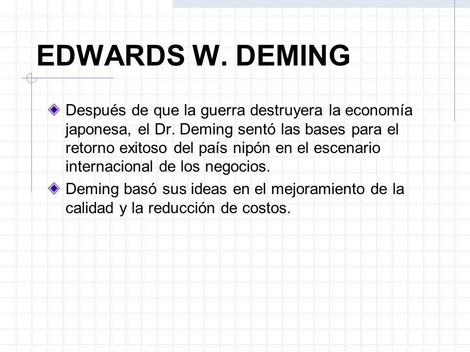 Después de que la guerra destruyera la economía japonesa, el Dr. Deming sentó las bases para el retorno exitoso del país nipón en el escenario interna