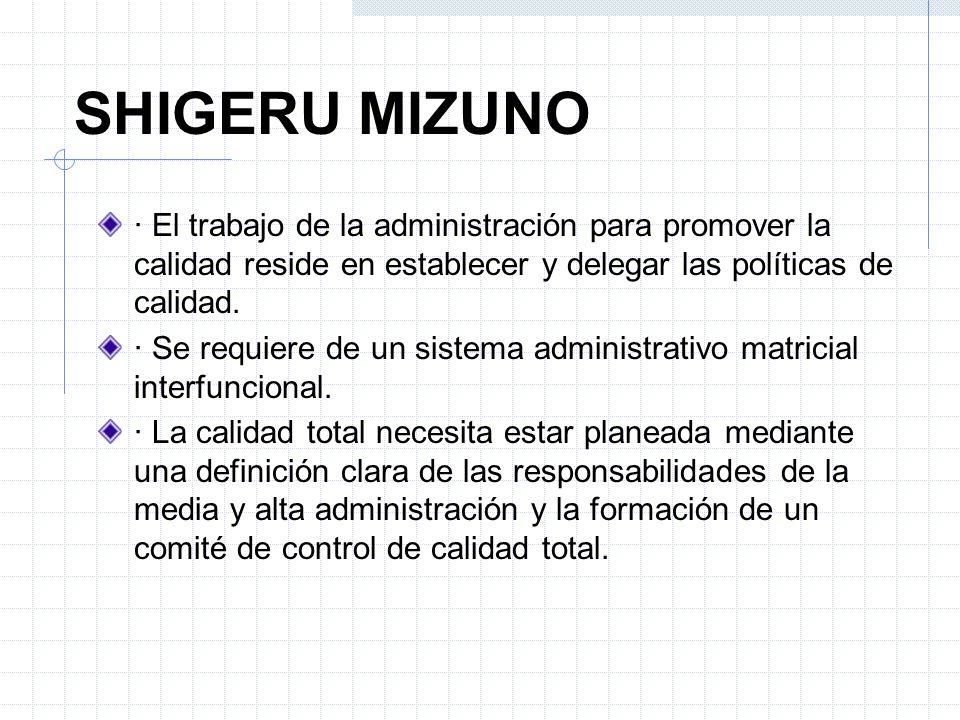 SHIGERU MIZUNO · El trabajo de la administración para promover la calidad reside en establecer y delegar las políticas de calidad. · Se requiere de un