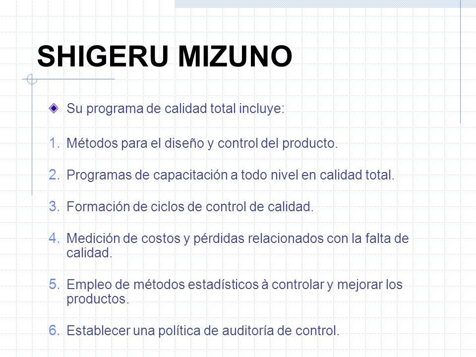 SHIGERU MIZUNO Su programa de calidad total incluye: 1. Métodos para el diseño y control del producto. 2. Programas de capacitación a todo nivel en ca