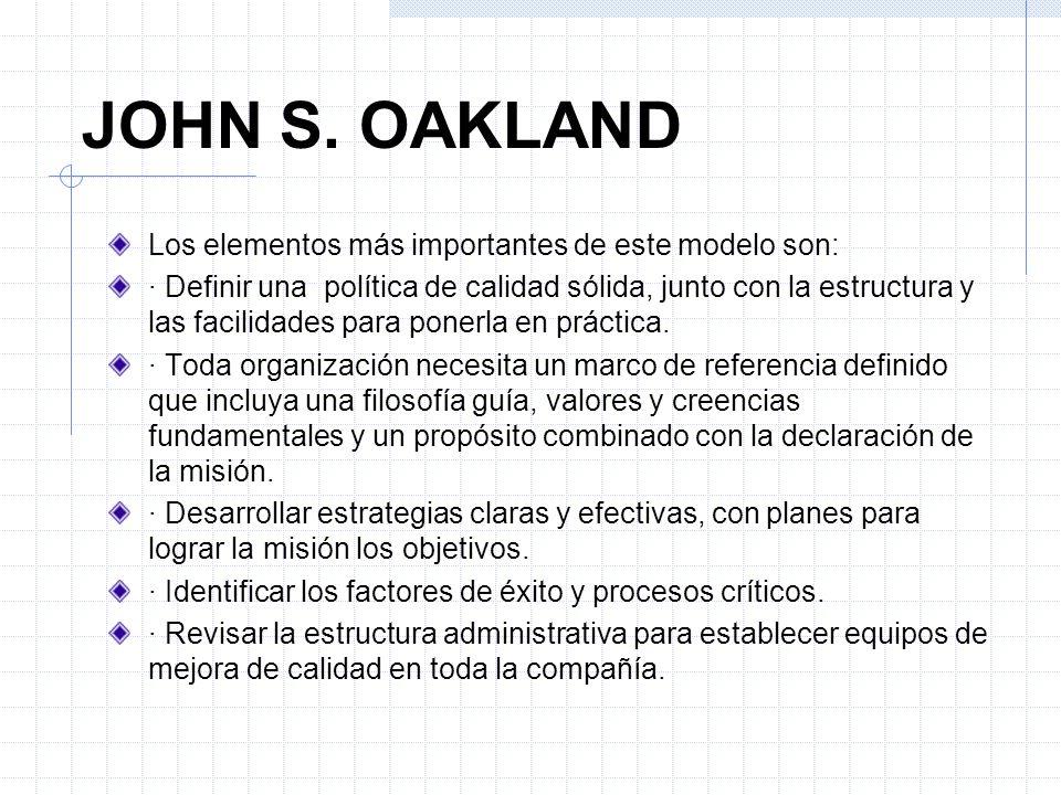 Los elementos más importantes de este modelo son: · Definir una política de calidad sólida, junto con la estructura y las facilidades para ponerla en