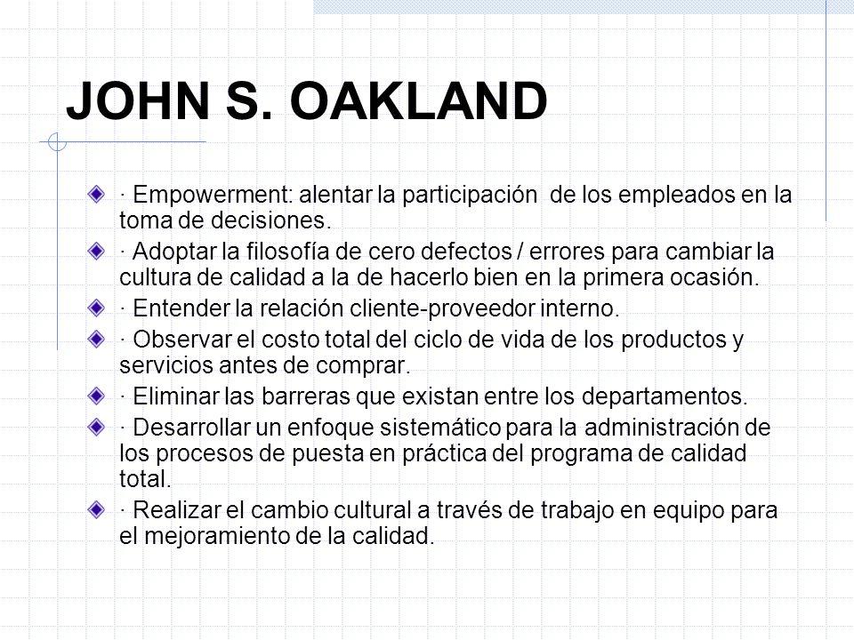 JOHN S. OAKLAND · Empowerment: alentar la participación de los empleados en la toma de decisiones. · Adoptar la filosofía de cero defectos / errores p