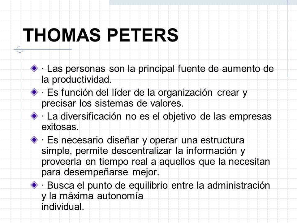THOMAS PETERS · Las personas son la principal fuente de aumento de la productividad. · Es función del líder de la organización crear y precisar los si