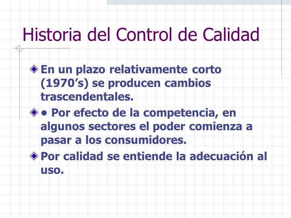Historia del Control de Calidad En un plazo relativamente corto (1970s) se producen cambios trascendentales. Por efecto de la competencia, en algunos