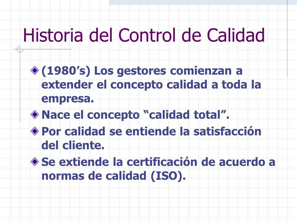 Historia del Control de Calidad (1980s) Los gestores comienzan a extender el concepto calidad a toda la empresa. Nace el concepto calidad total. Por c