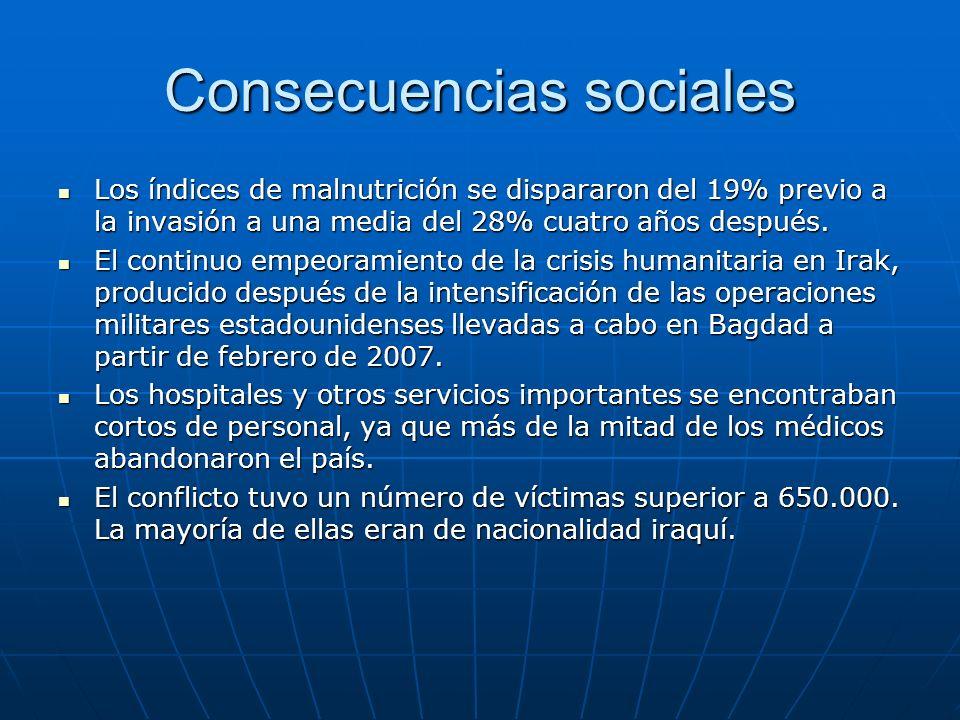 Consecuencias sociales Los índices de malnutrición se dispararon del 19% previo a la invasión a una media del 28% cuatro años después. Los índices de