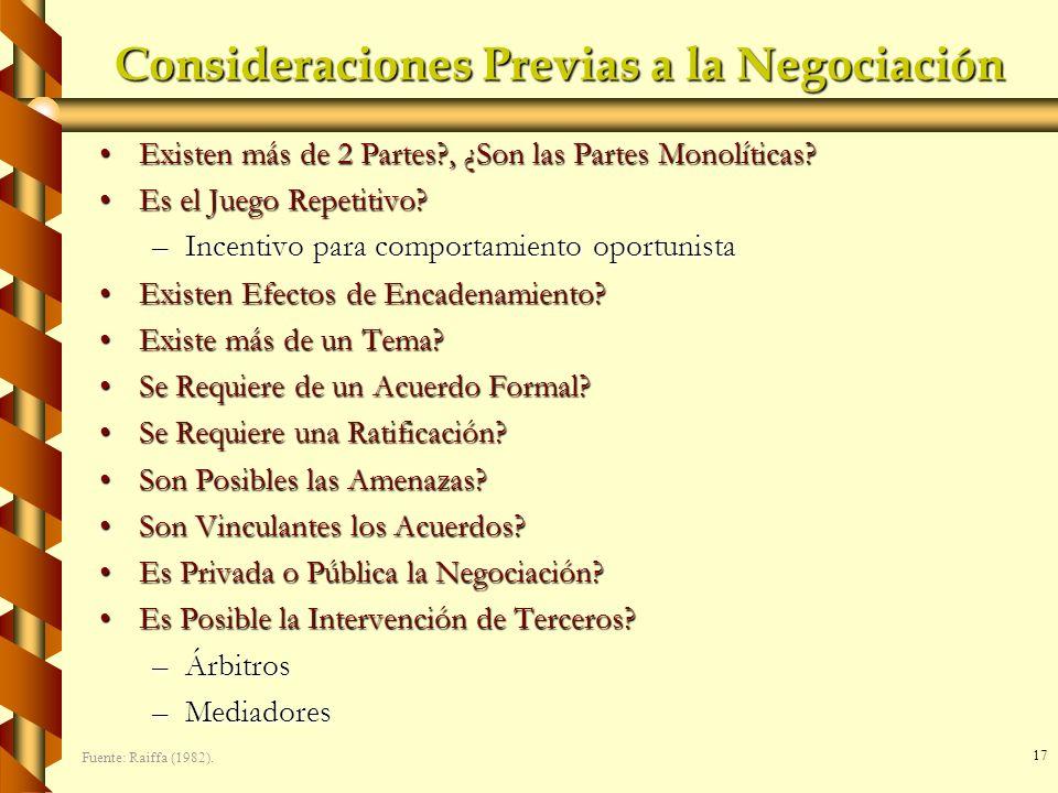 17 Consideraciones Previas a la Negociación Existen más de 2 Partes?, ¿Son las Partes Monolíticas?Existen más de 2 Partes?, ¿Son las Partes Monolítica