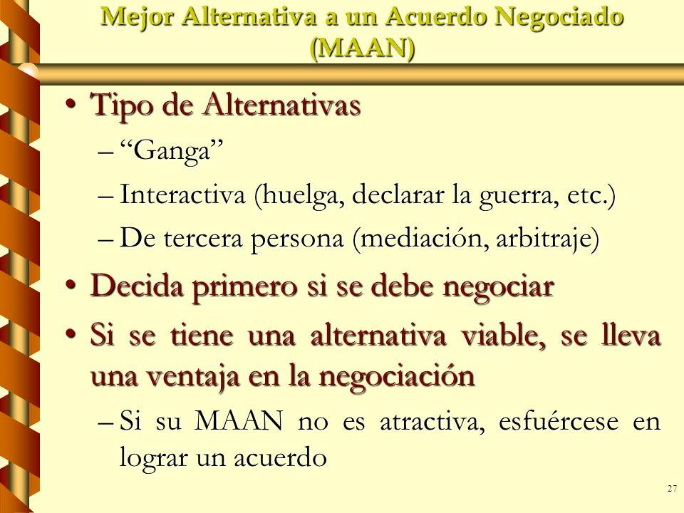27 Mejor Alternativa a un Acuerdo Negociado (MAAN) Tipo de AlternativasTipo de Alternativas –Ganga –Interactiva (huelga, declarar la guerra, etc.) –De