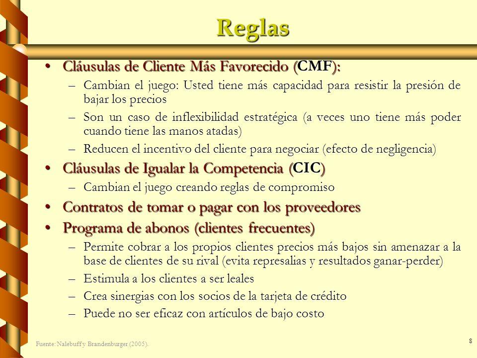 8 Reglas Cláusulas de Cliente Más Favorecido (CMF):Cláusulas de Cliente Más Favorecido (CMF): –Cambian el juego: Usted tiene más capacidad para resist