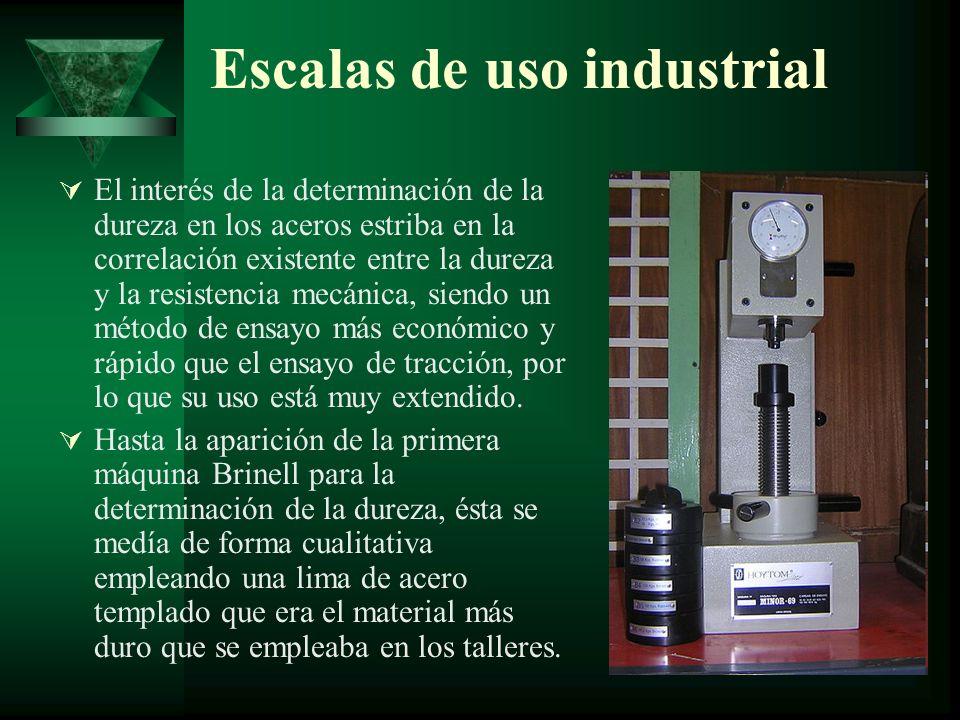 Las escalas de uso industrial son: Dureza Brinell: Emplea como punta una bola de acero templado o carburo de W.