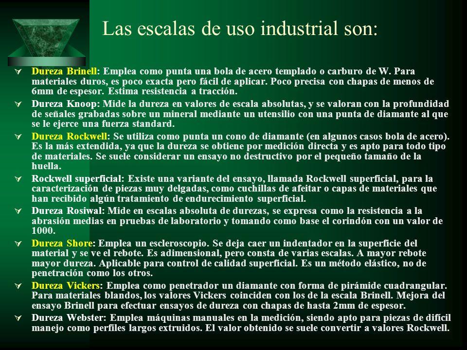 Las escalas de uso industrial son: Dureza Brinell: Emplea como punta una bola de acero templado o carburo de W. Para materiales duros, es poco exacta
