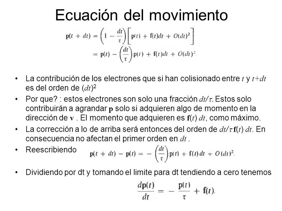 La contribución de los electrones que si han colisionado entre t y t+dt es del orden de ( dt ) 2 Por que? : estos electrones son solo una fracción dt