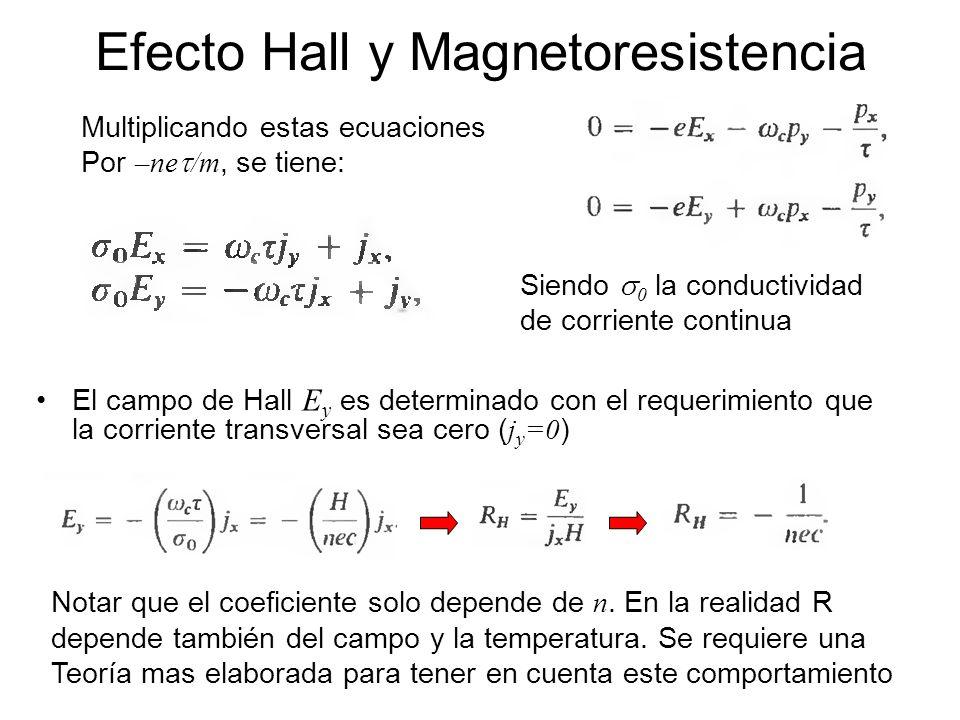 El campo de Hall E y es determinado con el requerimiento que la corriente transversal sea cero ( j y =0 ) Efecto Hall y Magnetoresistencia Multiplican