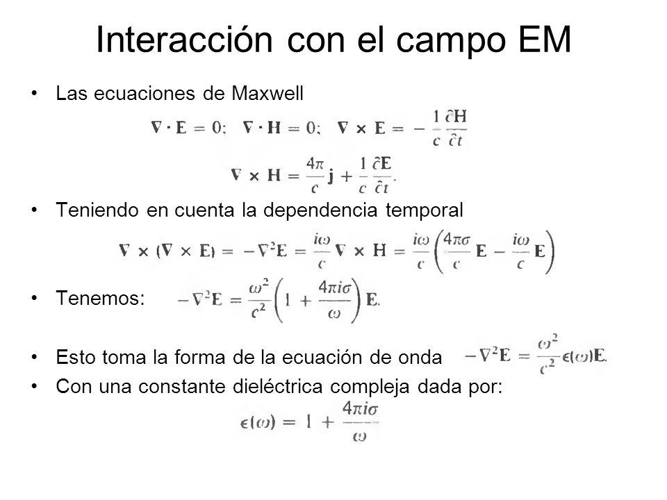 Interacción con el campo EM Las ecuaciones de Maxwell Teniendo en cuenta la dependencia temporal Tenemos: Esto toma la forma de la ecuación de onda Co