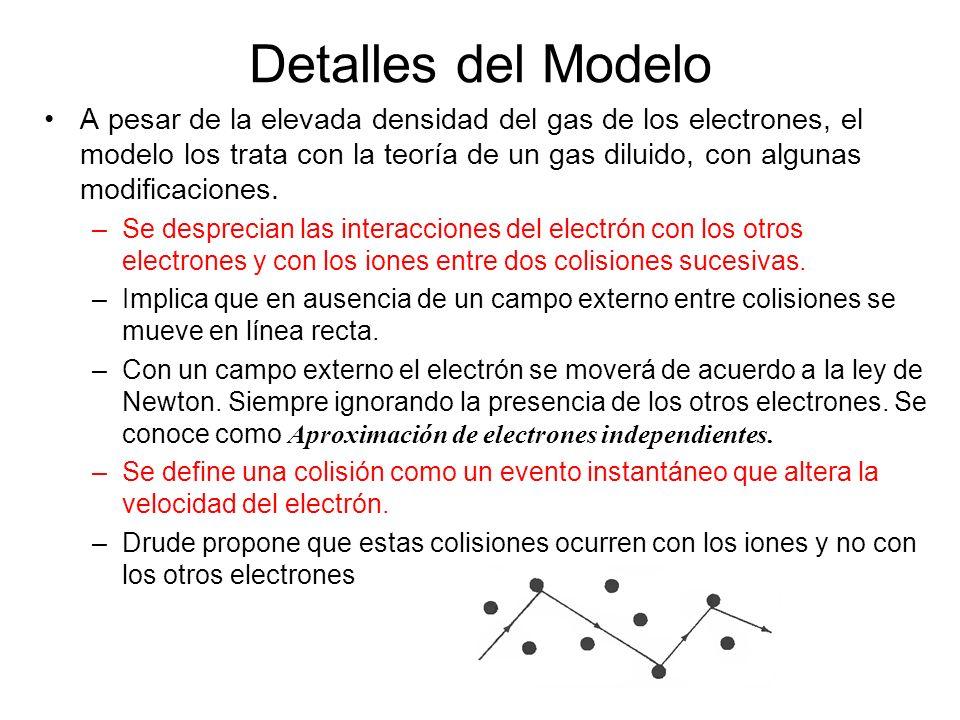 Detalles del Modelo A pesar de la elevada densidad del gas de los electrones, el modelo los trata con la teoría de un gas diluido, con algunas modific