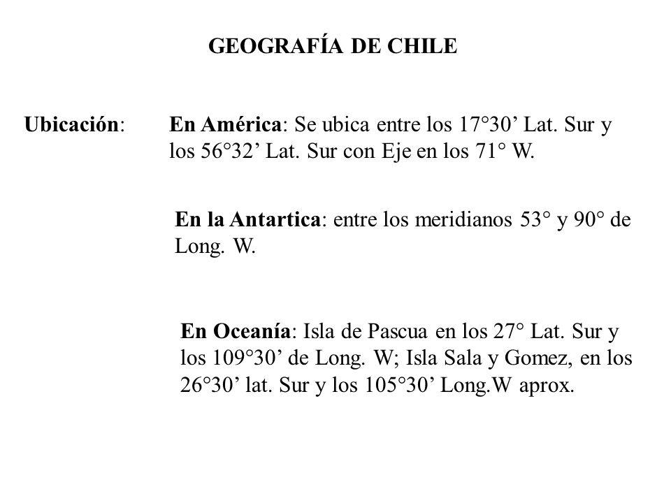 GEOGRAFÍA DE CHILE Ubicación:En América: Se ubica entre los 17°30 Lat. Sur y los 56°32 Lat. Sur con Eje en los 71° W. En la Antartica: entre los merid