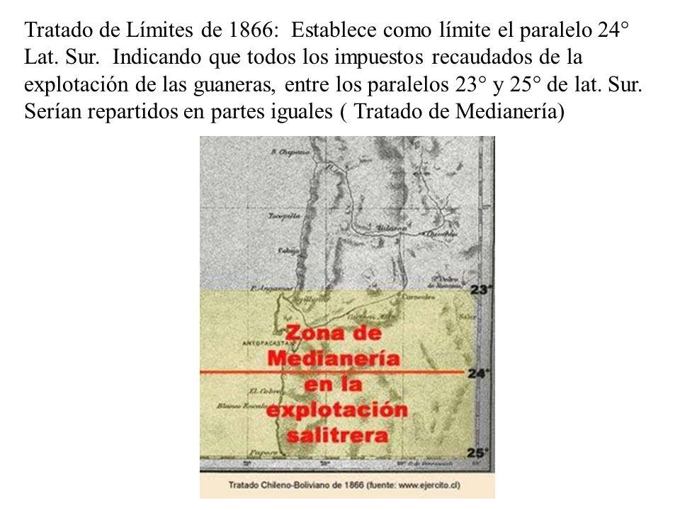 Tratado de Límites de 1866: Establece como límite el paralelo 24° Lat. Sur. Indicando que todos los impuestos recaudados de la explotación de las guan