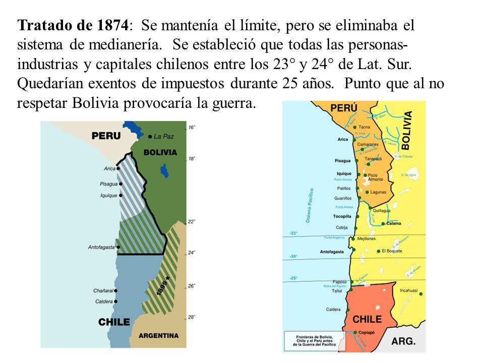 Tratado de 1874: Se mantenía el límite, pero se eliminaba el sistema de medianería. Se estableció que todas las personas- industrias y capitales chile