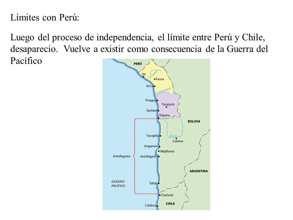 Límites con Perú: Luego del proceso de independencia, el límite entre Perú y Chile, desaparecio. Vuelve a existir como consecuencia de la Guerra del P