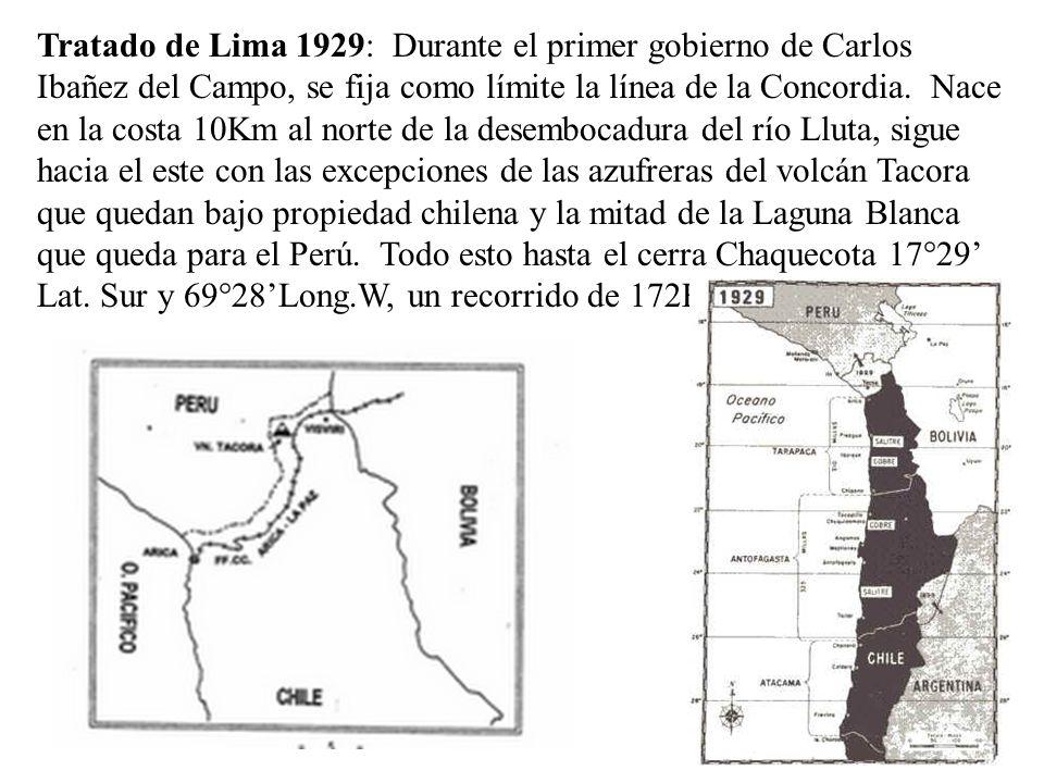 Tratado de Lima 1929: Durante el primer gobierno de Carlos Ibañez del Campo, se fija como límite la línea de la Concordia. Nace en la costa 10Km al no