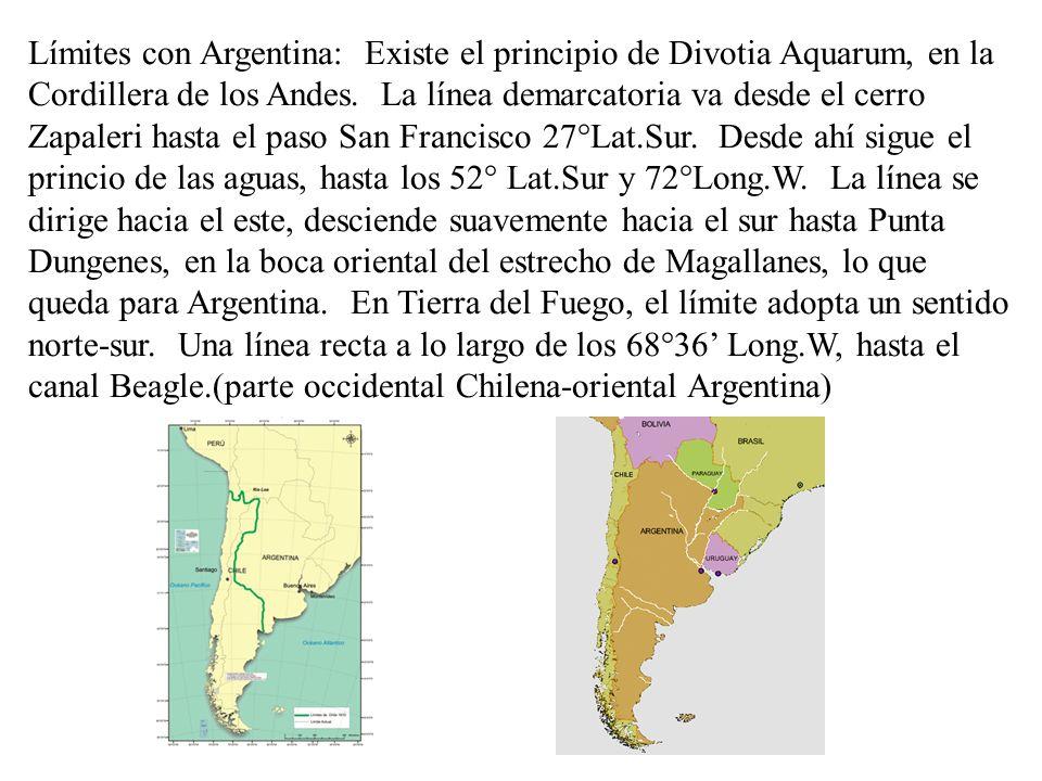 Límites con Argentina: Existe el principio de Divotia Aquarum, en la Cordillera de los Andes. La línea demarcatoria va desde el cerro Zapaleri hasta e