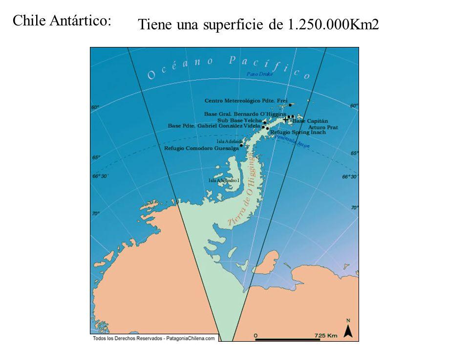 Chile Antártico: Tiene una superficie de 1.250.000Km2