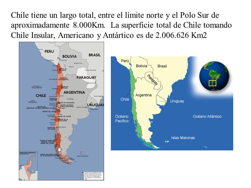 Chile tiene un largo total, entre el límite norte y el Polo Sur de aproximadamente 8.000Km. La superficie total de Chile tomando Chile Insular, Americ