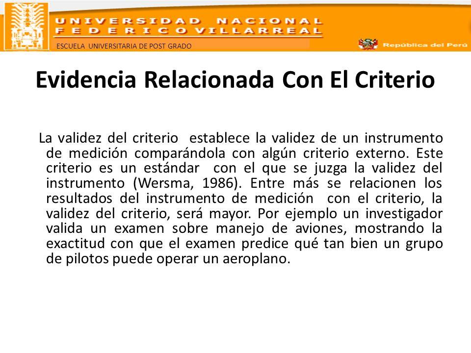ESCUELA UNIVERSITARIA DE POST GRADO Evidencia Relacionada Con El Criterio La validez del criterio establece la validez de un instrumento de medición c