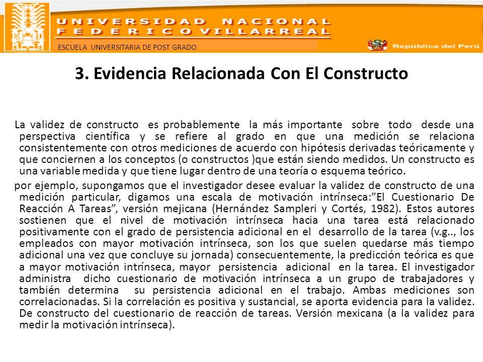 ESCUELA UNIVERSITARIA DE POST GRADO 3. Evidencia Relacionada Con El Constructo La validez de constructo es probablemente la más importante sobre todo