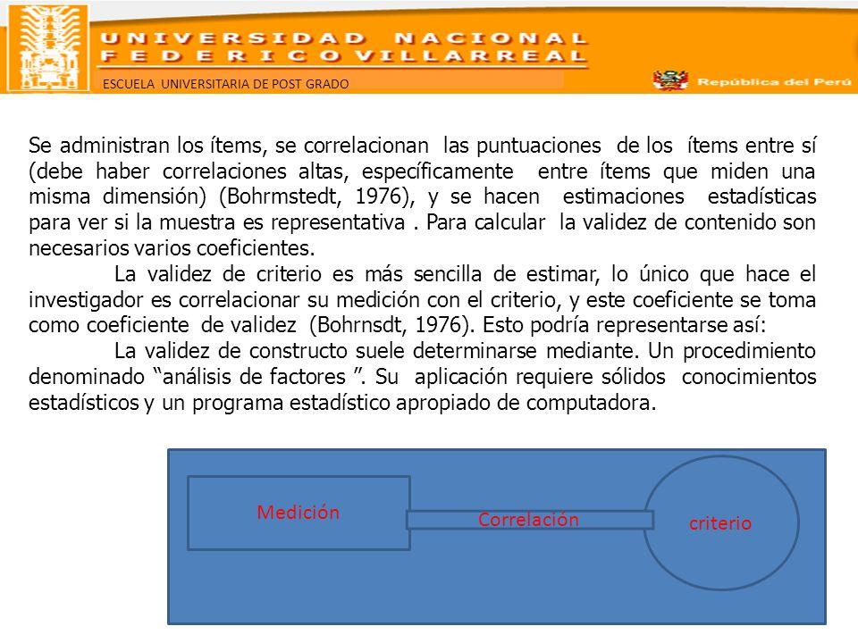 ESCUELA UNIVERSITARIA DE POST GRADO Medición criterio Correlación Se administran los ítems, se correlacionan las puntuaciones de los ítems entre sí (d