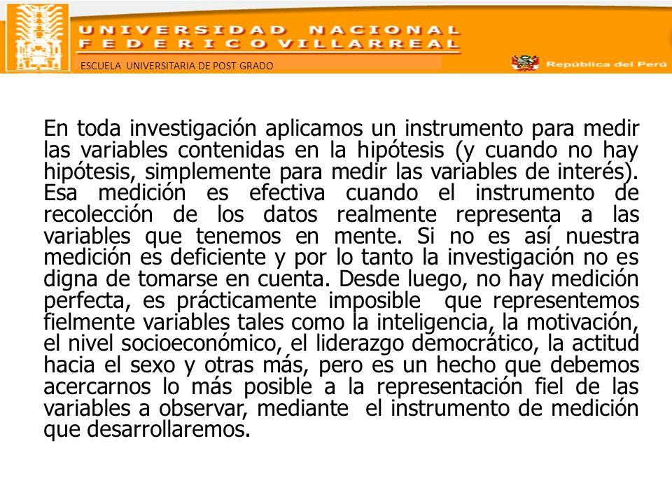 ESCUELA UNIVERSITARIA DE POST GRADO ¿Qué requisitos debe cubrir un instrumento de medición.