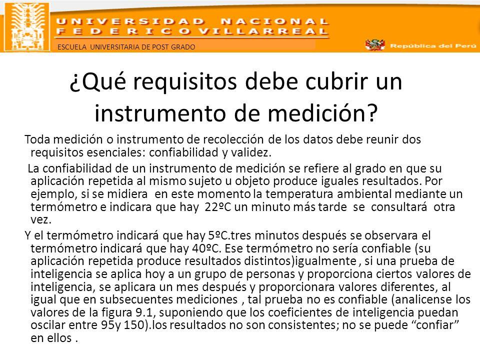 ESCUELA UNIVERSITARIA DE POST GRADO ¿Qué requisitos debe cubrir un instrumento de medición? Toda medición o instrumento de recolección de los datos de