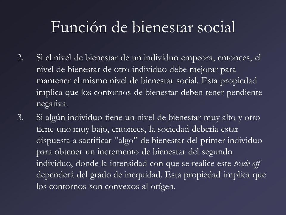 Función de bienestar social 2.Si el nivel de bienestar de un individuo empeora, entonces, el nivel de bienestar de otro individuo debe mejorar para ma