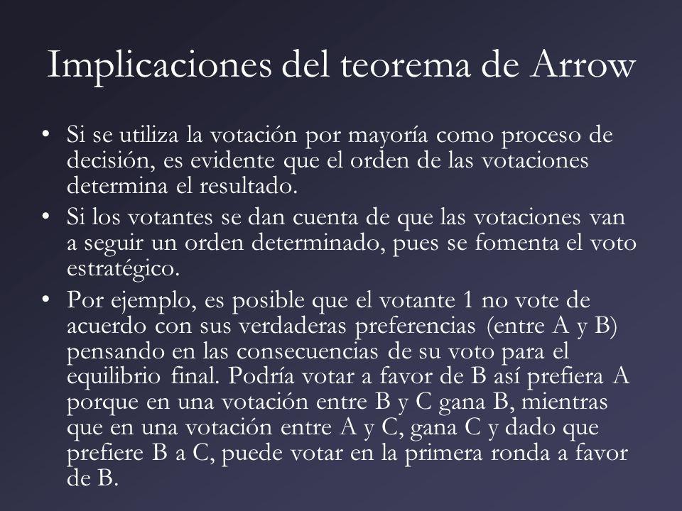 Implicaciones del teorema de Arrow Si se utiliza la votación por mayoría como proceso de decisión, es evidente que el orden de las votaciones determin