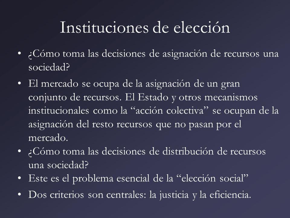 Instituciones de elección ¿Cómo toma las decisiones de asignación de recursos una sociedad? El mercado se ocupa de la asignación de un gran conjunto d