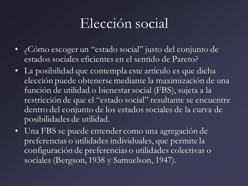 Función de bienestar social Un problema típico de elección entre un conjunto de alternativas de política que afectan la distribución de las utilidades en una economía se presenta a continuación.