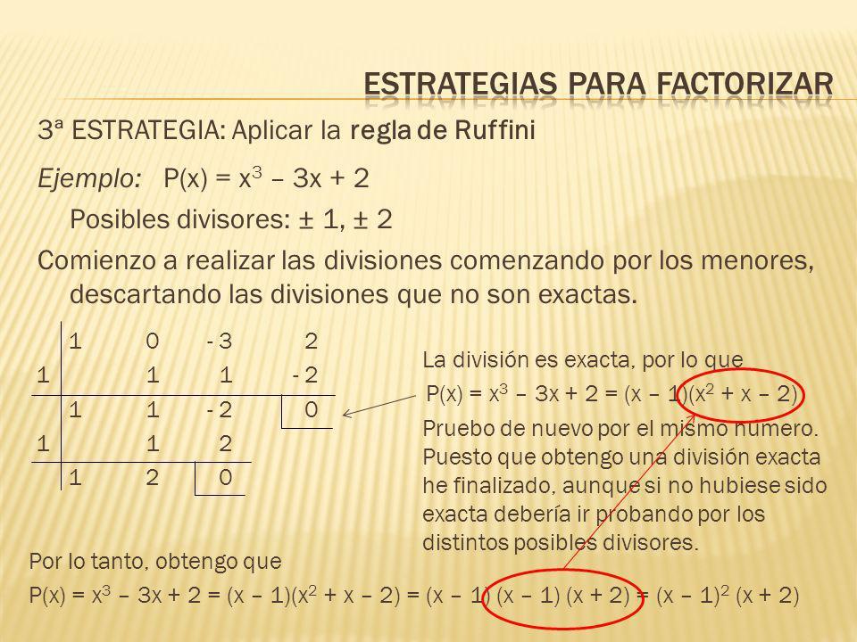1 5 8 4 -1 - 1- 4- 4 1 4 4 0 Factorizar el polinomio P(x) = x 4 + 5x 3 +8x 2 + 4x Observo que en todos los monomios aparece x, por lo que puedo sacar factor común P(x) = x 4 + 5x 3 +8x 2 + 4x = x (x 3 + 5x 2 +8x + 4) Intento expresar el segundo factor como producto notable, pero, como no es posible, paso a buscar las posibles raíces para aplicar la regla de Ruffini.