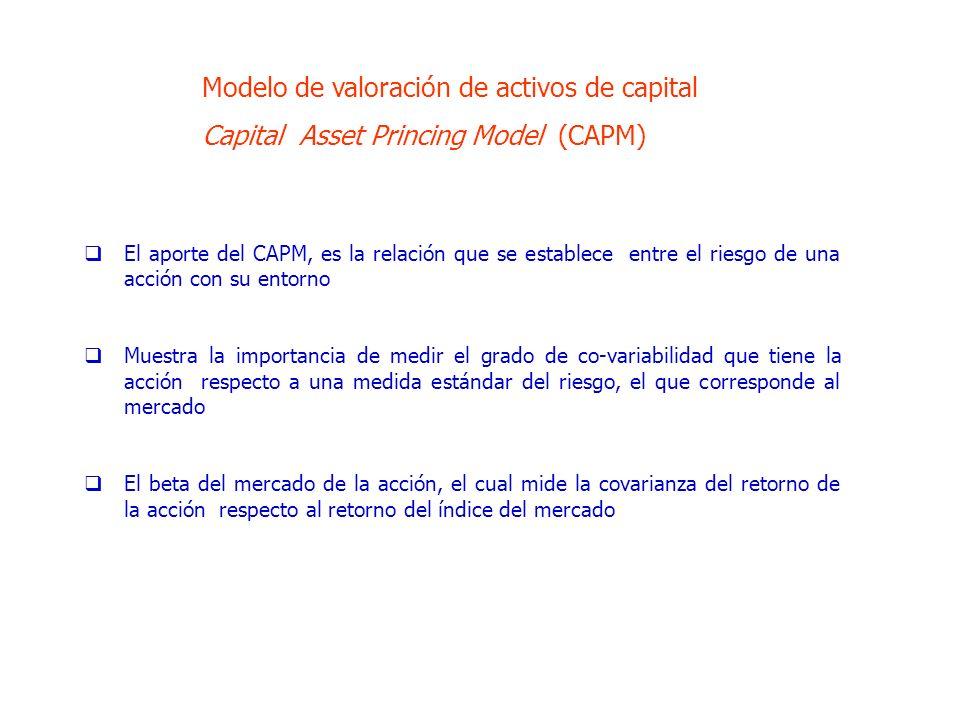 El aporte del CAPM, es la relación que se establece entre el riesgo de una acción con su entorno Muestra la importancia de medir el grado de co-variabilidad que tiene la acción respecto a una medida estándar del riesgo, el que corresponde al mercado El beta del mercado de la acción, el cual mide la covarianza del retorno de la acción respecto al retorno del índice del mercado Modelo de valoración de activos de capital Capital Asset Princing Model (CAPM)