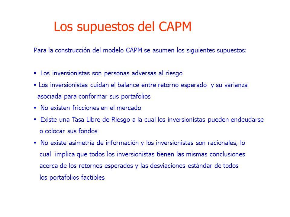 Los supuestos del CAPM Para la construcción del modelo CAPM se asumen los siguientes supuestos: Los inversionistas son personas adversas al riesgo Los
