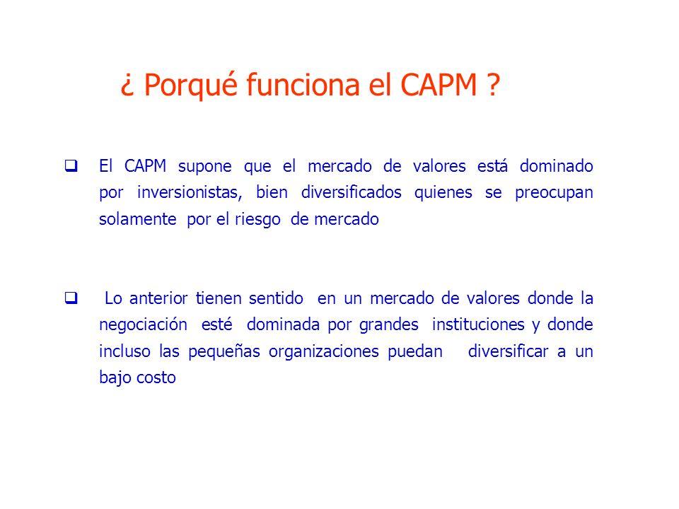 ¿ Porqué funciona el CAPM ? El CAPM supone que el mercado de valores está dominado por inversionistas, bien diversificados quienes se preocupan solame