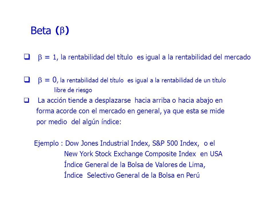 Beta = = 1, la rentabilidad del título es igual a la rentabilidad del mercado = = 0, la rentabilidad del título es igual a la rentabilidad de un título libre de riesgo La acción tiende a desplazarse hacia arriba o hacia abajo en forma acorde con el mercado en general, ya que esta se mide por medio del algún índice: Ejemplo : Dow Jones Industrial Index, S&P 500 Index, o el New York Stock Exchange Composite Index en USA Índice General de la Bolsa de Valores de Lima, Índice Selectivo General de la Bolsa en Perú ( )
