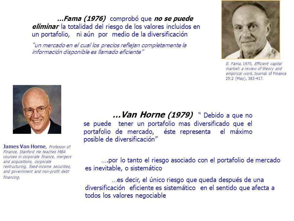 …Van Horne (1979) Debido a que no se puede tener un portafolio mas diversificado que el portafolio de mercado, éste representa el máximo posible de di